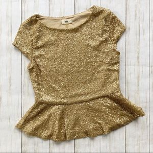 tobi Gold Sequin Peplum Shirt